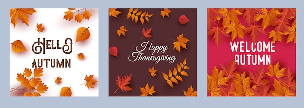 Happy thanksgiving greeting card. hello autumn cards set