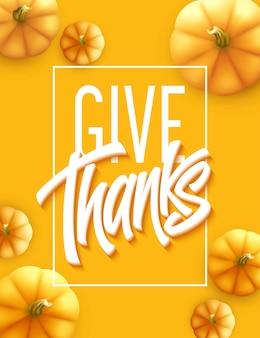 즐거운 추수 감사절 인사말 카드입니다. 휴일 서예 글자.