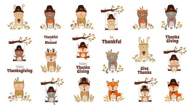 Happy thanksgiving greeting card poster or flyer for holiday funny animal