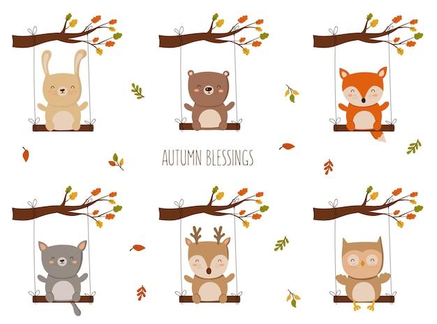 幸せな感謝祭のグリーティングカードのポスターや休日のチラシ面白い動物