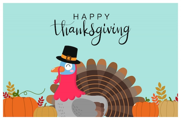 Happy thanksgiving greeting card with cute turkey and pumpkin