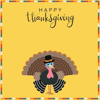 Happy thanksgiving greeting card with cute turkey.