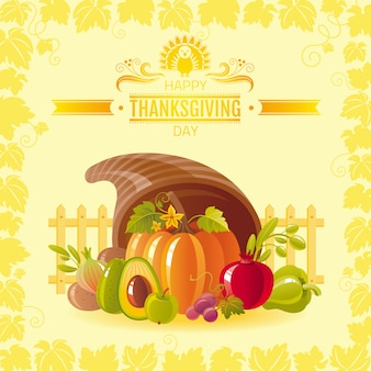 Happy thanksgiving greeting card with horn of plenty, pumpkin and autumn leaves..