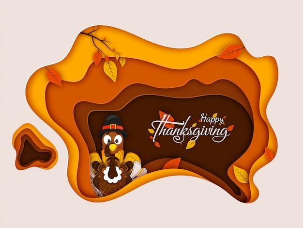 Happy thanksgiving greeting card  with illustration of turkey wearing pilgrim hat and autumn leaves decorated on paper cut style .