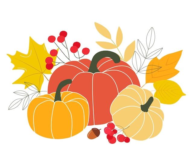 즐거운 추수 감사절 인사말 엽서 디자인 엽서 가을 시즌 오렌지 호박, 노란색, 빨간색, 숲 가을 잎 허브 믹스. 플랫 스타일의 벡터 일러스트 레이션