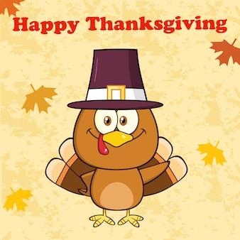 Happy thanksgiving greeting with cute pilgrim turkey bird cartoon character waving
