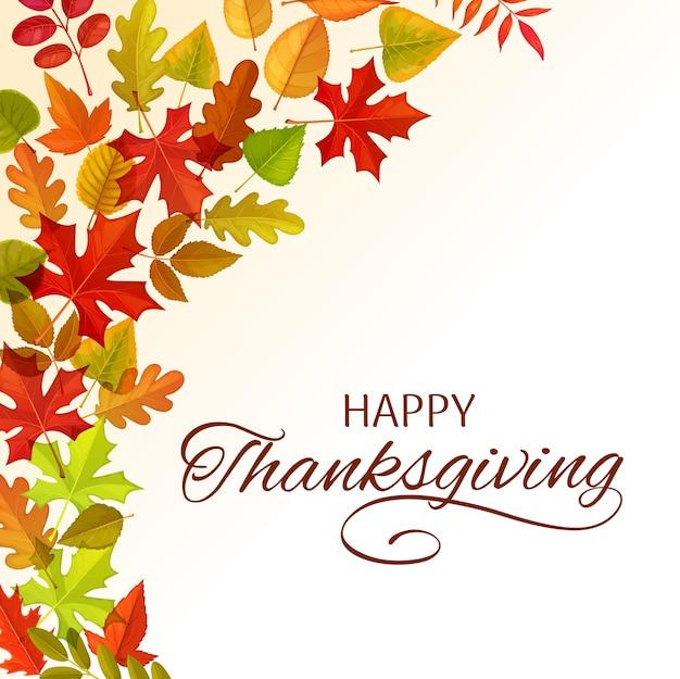 Счастливое приветствие благодарения с рамкой из осенних опавших листьев клена, дуба, березы или рябины с ясенем. поздравление с днем благодарения, праздничный плакат осеннего сезона с листвой древесных растений
