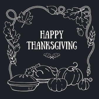 Happy thanksgiving hand drawn greeting card template