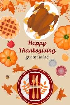 С днем благодарения праздник векторный дизайн шаблона для плакатов, баннеров, приглашений, поздравительных открыток