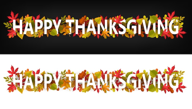 즐거운 추수 감사절 가로 배너, 검은 색 또는 흰색 배경에 단풍과 활판 인쇄 인사말. 추수 감사절 사이트 바닥 글 또는 머리글과 단풍 나무, 참나무, 자작 나무 또는 마가목 나무 단풍