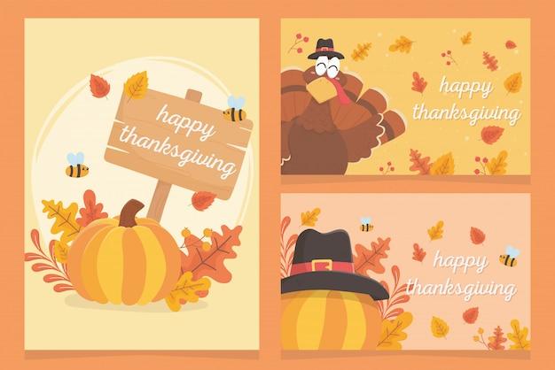 Happy thanksgiving inscription turkey pumpkins pilgrim hat leaves celebration