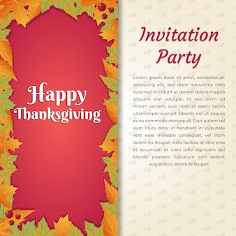 Happy thanksgiving invitation party card template square size