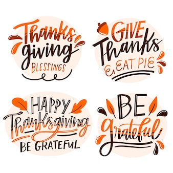 Happy thanksgiving lettering badge set