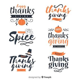 Happy thanksgiving lettering badges collection