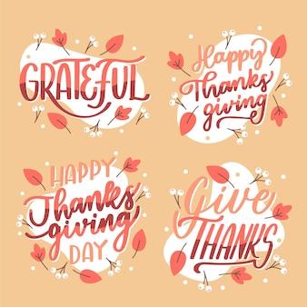 Collezione di badge lettering felice giorno del ringraziamento