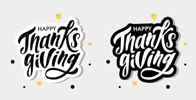 Happy thanksgiving lettering calligraphy brush text holiday sticker