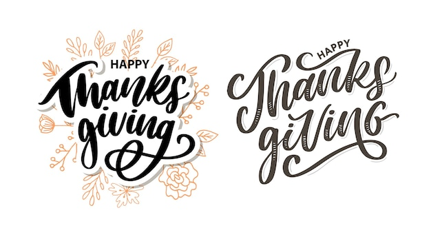 Happy thanksgiving lettering calligraphy set
