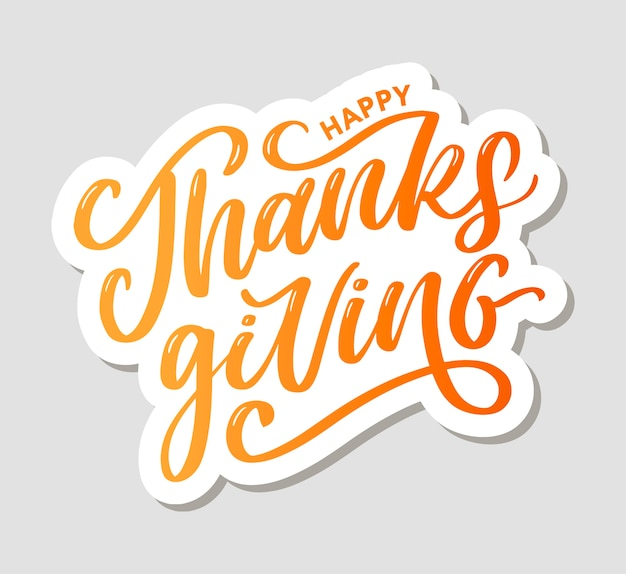 Happy thanksgiving lettering calligraphy text brush