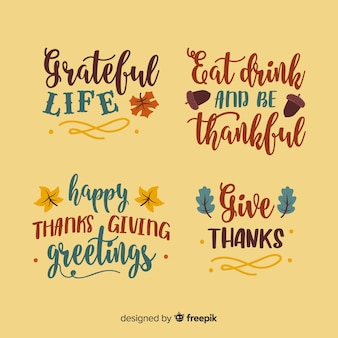 Happy thanksgiving lettering collection