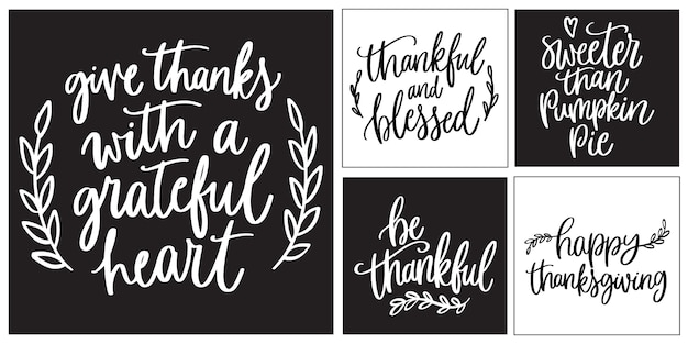 Happy thanksgiving lettering concept. thanksgiving concept with flat design. happy thanksgiving concept with lettering