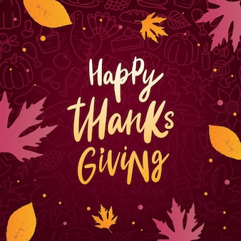 Happy thanksgiving lettering quote with leaves Premium Vector