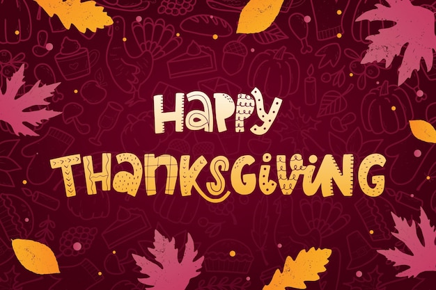 Happy thanksgiving lettering quote with leaves