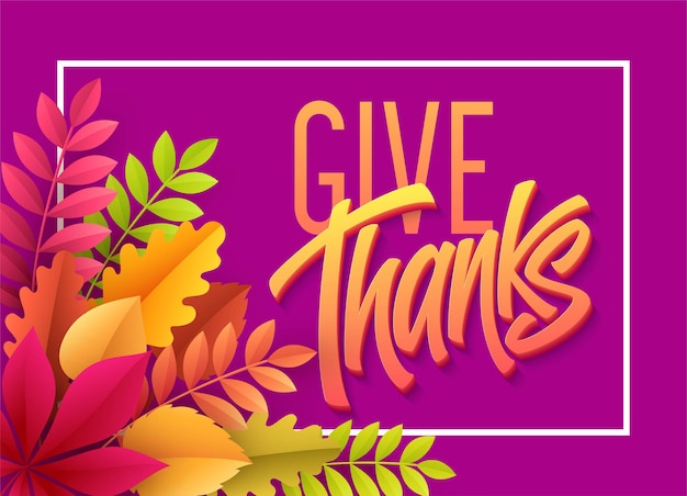 Happy thanksgiving lettering with paper autumn leaves