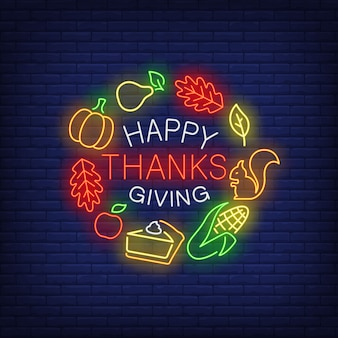 Happy thanksgiving neon sign