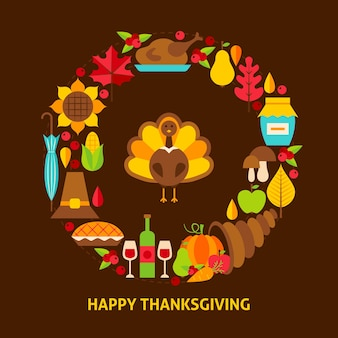Открытка с днем благодарения. дизайн плаката векторные иллюстрации. осенние праздничные объекты.