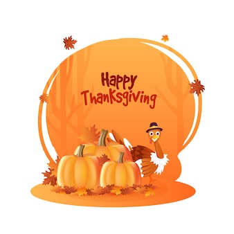 호박, 칠면조 새와 단풍나무 잎이 주황색과 흰색 배경에 장식된 행복한 추수 감사절 포스터 디자인.