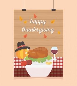 Happy thanksgiving poster hanging turkey apple wine pumpkin table