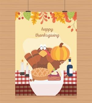 Happy thanksgiving poster hanging turkey pumpkin cake wine candles
