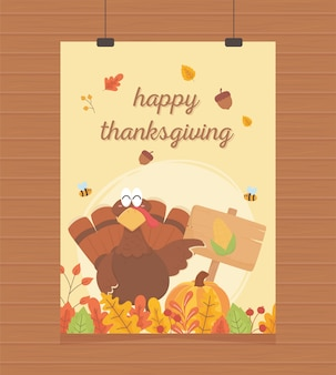 Happy thanksgiving poster hanging turkey with pumpkin board corn