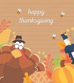 Happy thanksgiving poster turkey wine bottle pumpkin cake bees foliage