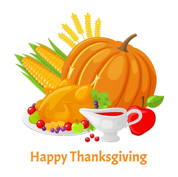 Happy thanksgiving poster with pumpkin