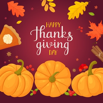 Happy thanksgiving pumpkin pumpkin pie apples berries lettering and leaves on a dark background
