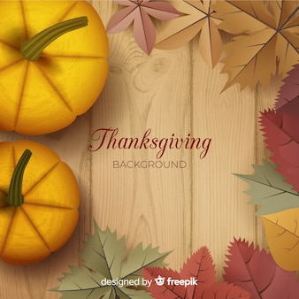 Happy thanksgiving realistic background with leaves and pumpkins