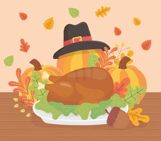 Happy thanksgiving roasted turkey pumpkins hat acorn foliage celebration