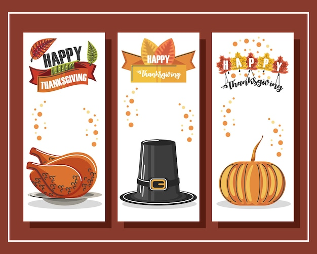 즐거운 추수 감사절 칠면조, 모자, 호박, 글자와 배너를 설정