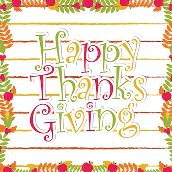 Happy thanksgiving text on maple leaves frame suitable for happy thanksgiving card design, thanks tag, and printable wallpaper