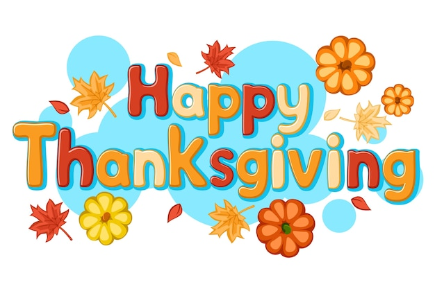 Happy thanksgiving text with pumpkins and autumn leaves on a white background.