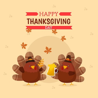 Happy thanksgiving turkey background free vector