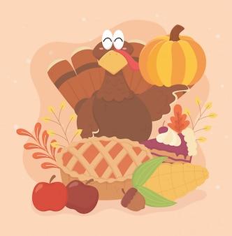 幸せな感謝祭の七面鳥のケーキコーンリンゴドングリのお祝い