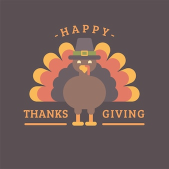 Happy thanksgiving. turkey in a hat flat illustration. holiday greeting