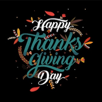 Happy thanksgiving typography ,vector calligraphy