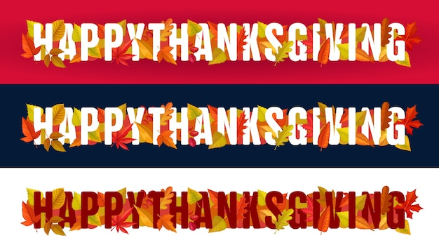 Happy thanksgiving  typography with autumn leaves on red, black or white background. thanks giving day site footer or header with maple, oak, birch or rowan trees foliage horizontal banners set