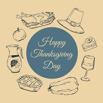 행복 한 추수 감사절 벡터 배너입니다. 추수 감사절을 위한 손으로 그린 클립 아트.