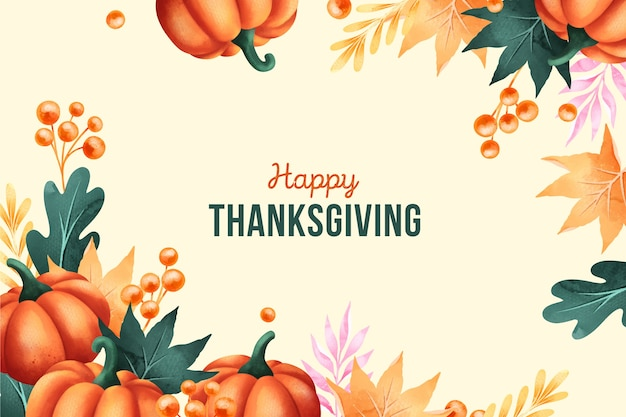 Happy thanksgiving in watercolor background