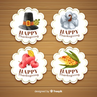 Happy thanksgiving watercolor badge collection