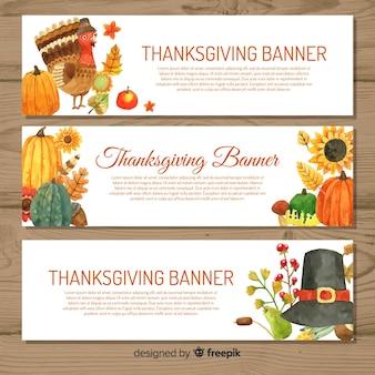 Happy thanksgiving watercolor banner set